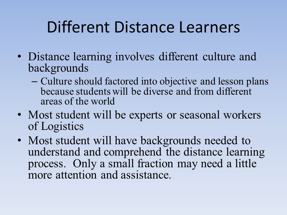 Different Distance Learners