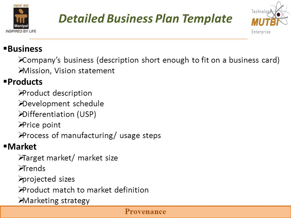 Key components of the business plan ppt video online download detailed business plan template wajeb Gallery