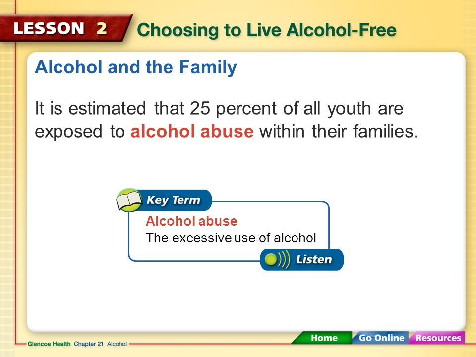 Alcohol and the Family It is estimated that 25 percent of all youth are exposed to alcohol abuse within their families.