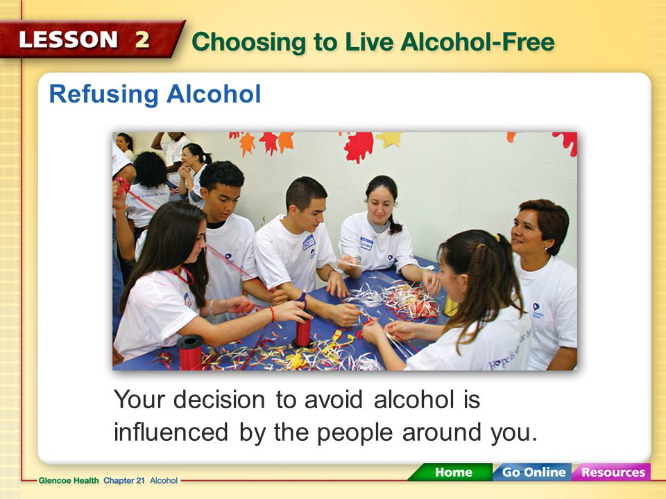 Refusing Alcohol Your decision to avoid alcohol is influenced by the people around you.