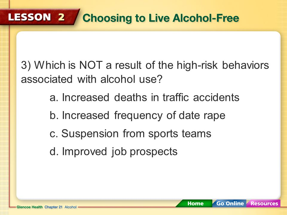 3) Which is NOT a result of the high-risk behaviors associated with alcohol use.