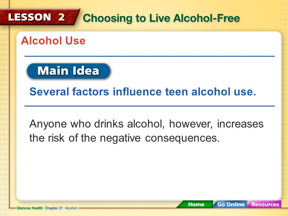 Alcohol Use Several factors influence teen alcohol use.