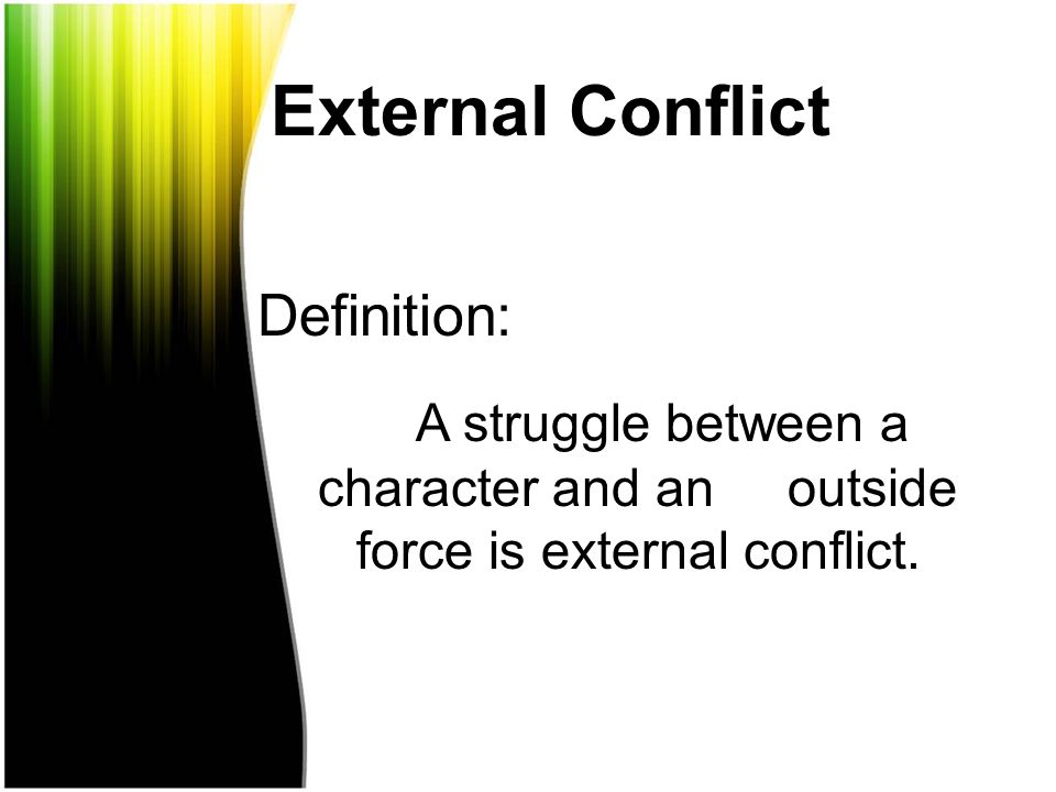 internal and external conflict in the old In part two, the internal conflict is revealed when bierce elaborates on peyton farquhar's inner struggle to participate in the civil war having an aristocratic southern background prevents.