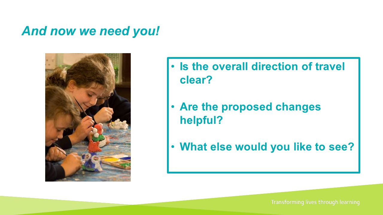 And now we need you! Is the overall direction of travel clear