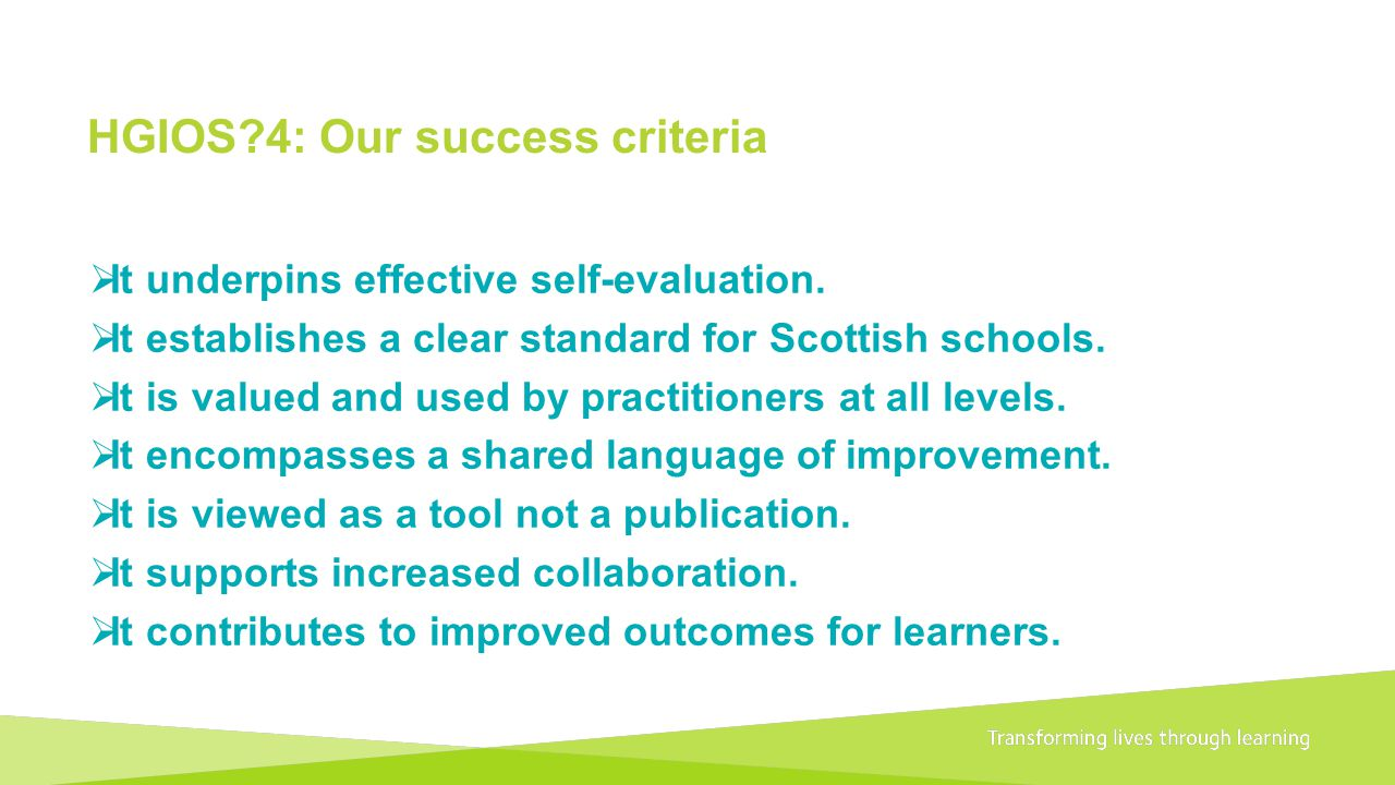 HGIOS 4: Our success criteria