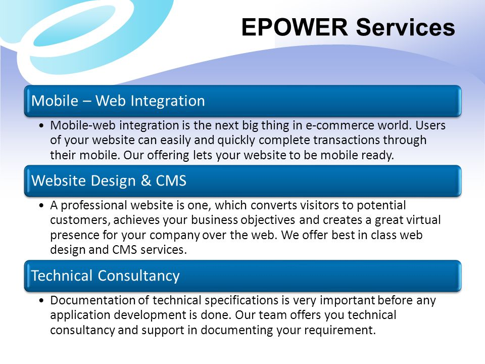 EPOWER Services Mobile – Web Integration
