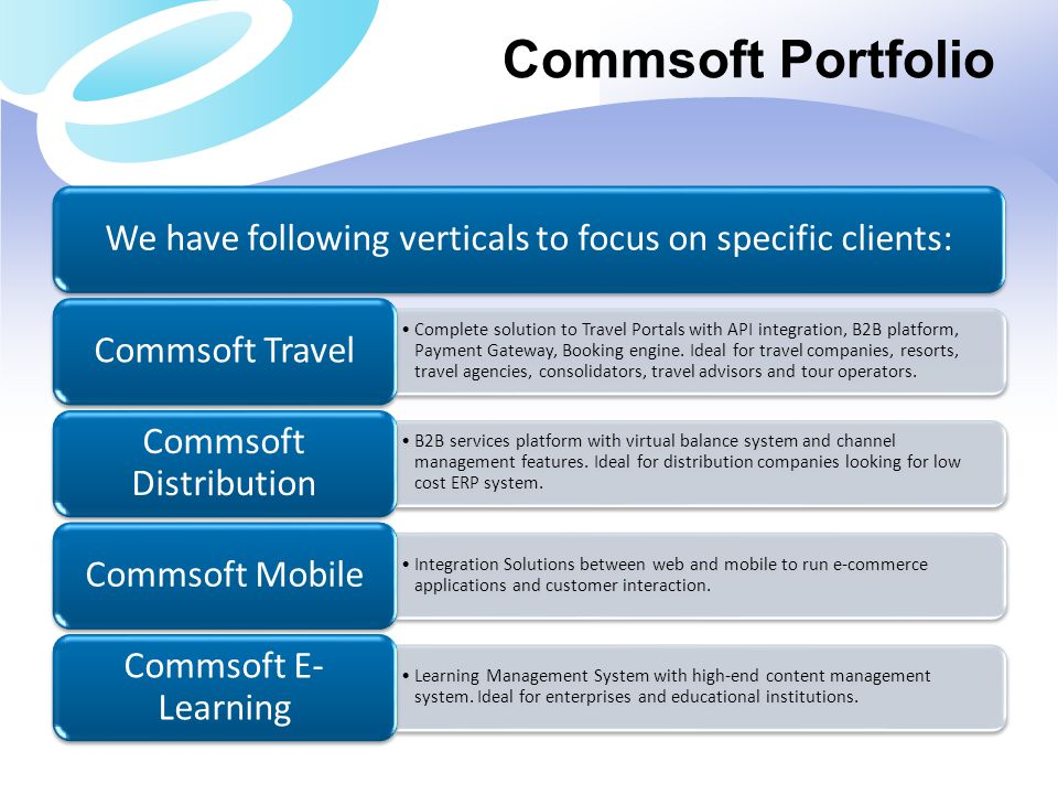Commsoft Portfolio We have following verticals to focus on specific clients: Commsoft Travel.
