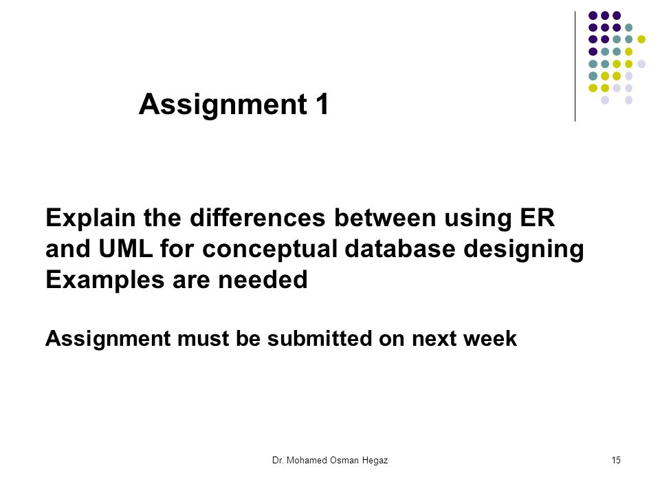 Assignment 1 Explain the differences between using ER and UML for conceptual database designing. Examples are needed.