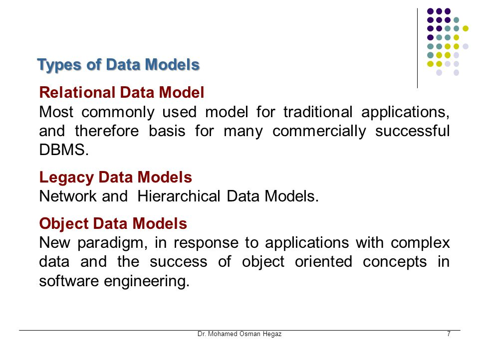 Network and Hierarchical Data Models. Object Data Models