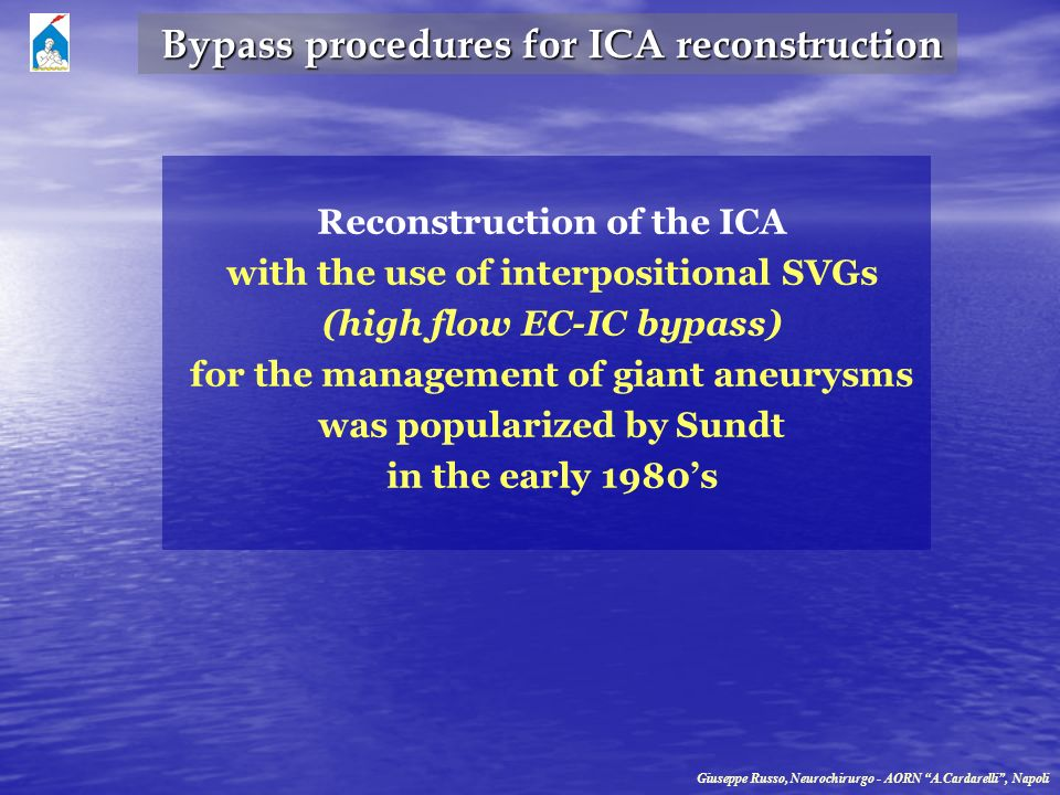 Bypass procedures for ICA reconstruction