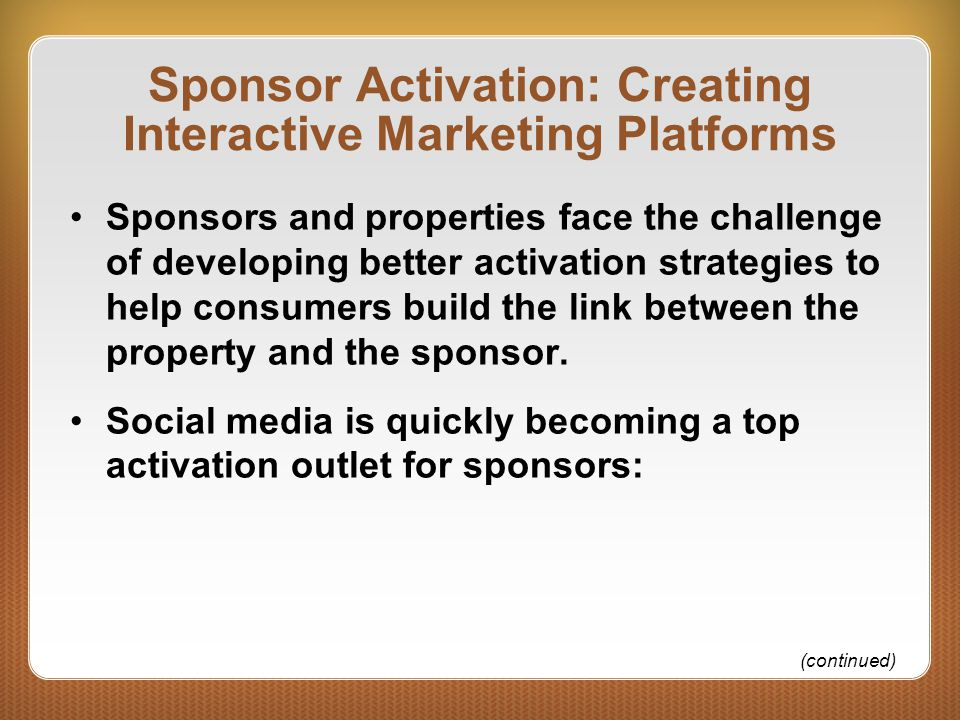 Sponsor Activation: Creating Interactive Marketing Platforms