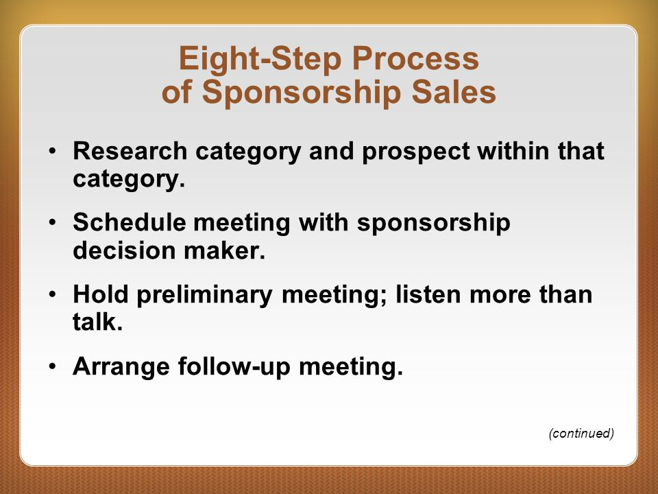 Eight-Step Process of Sponsorship Sales