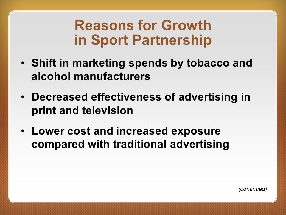 Reasons for Growth in Sport Partnership