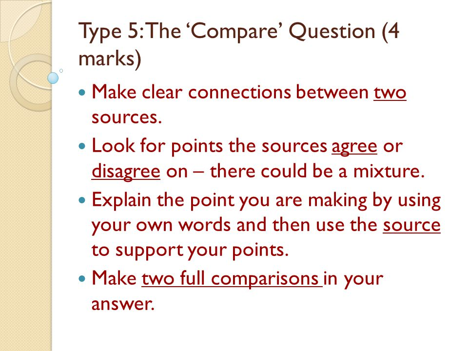 Type 5: The 'Compare' Question (4 marks)