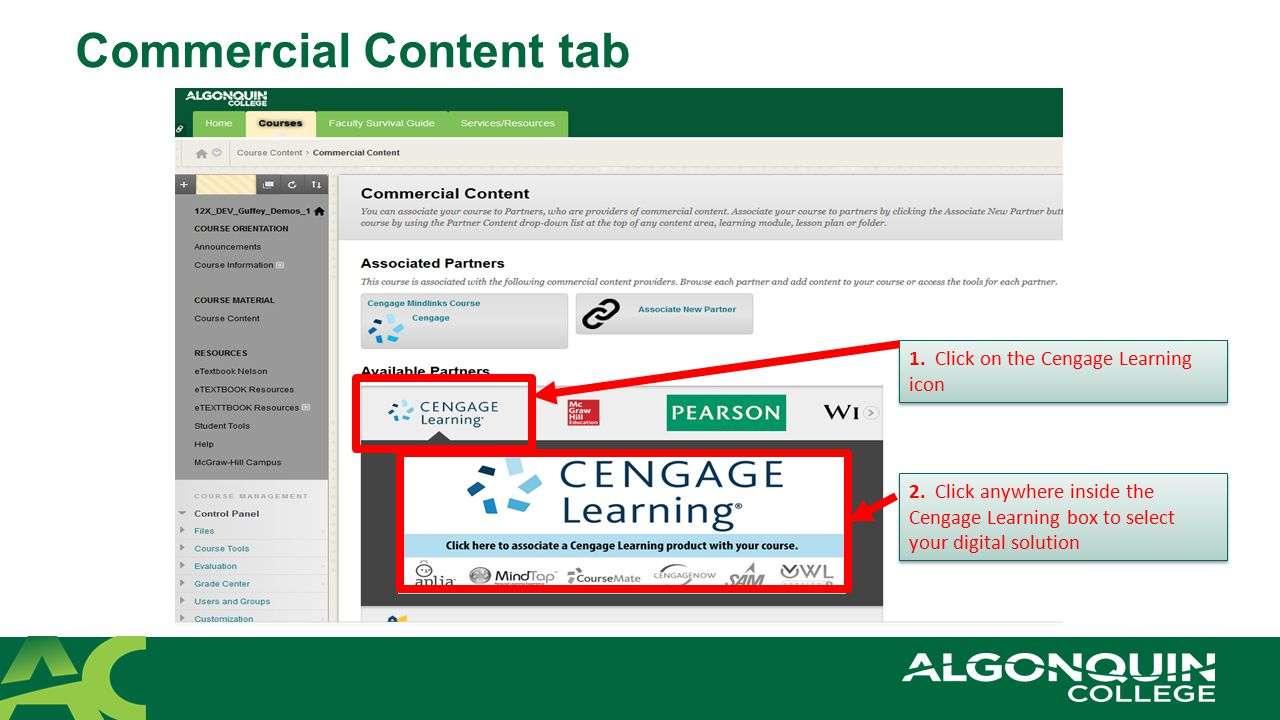 Commercial Content tab