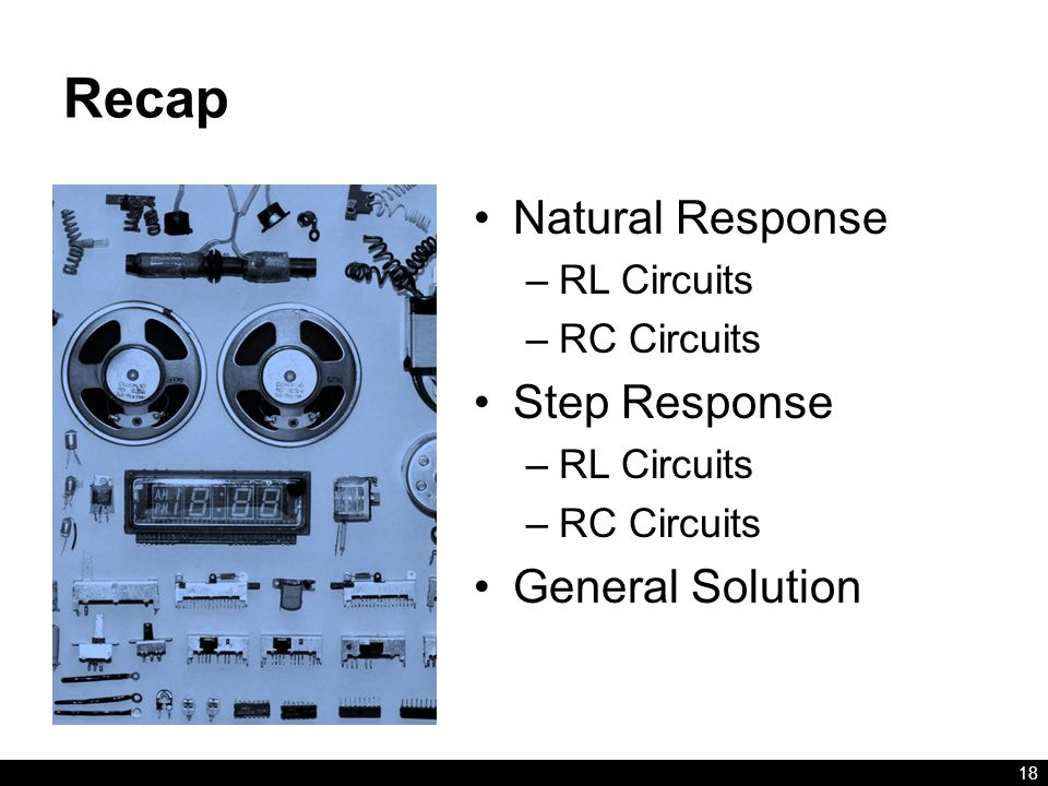 Recap Natural Response Step Response General Solution RL Circuits