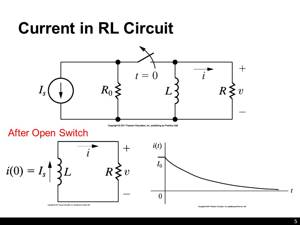 Current in RL Circuit After Open Switch