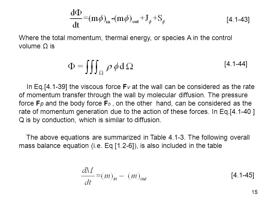 [4.1-43] Where the total momentum, thermal energy, or species A in the control volume Ω is. [4.1-44]