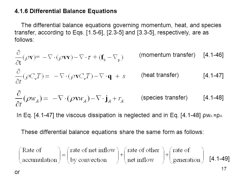 4.1.6 Differential Balance Equations