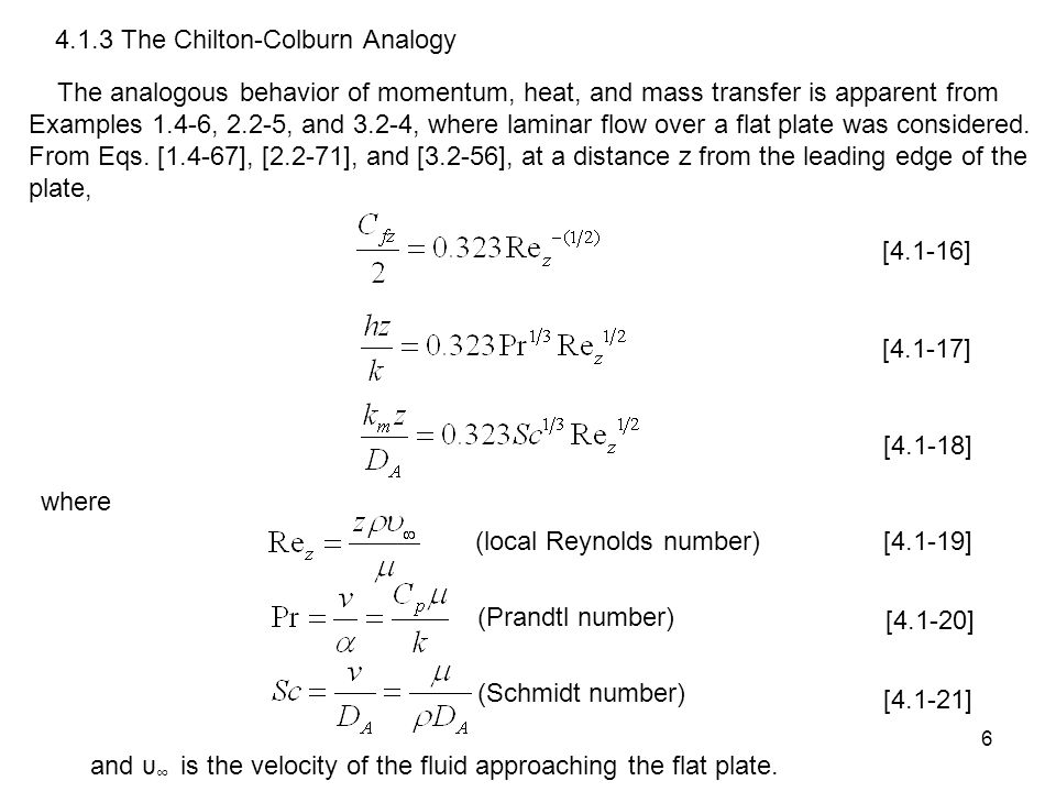 4.1.3 The Chilton-Colburn Analogy