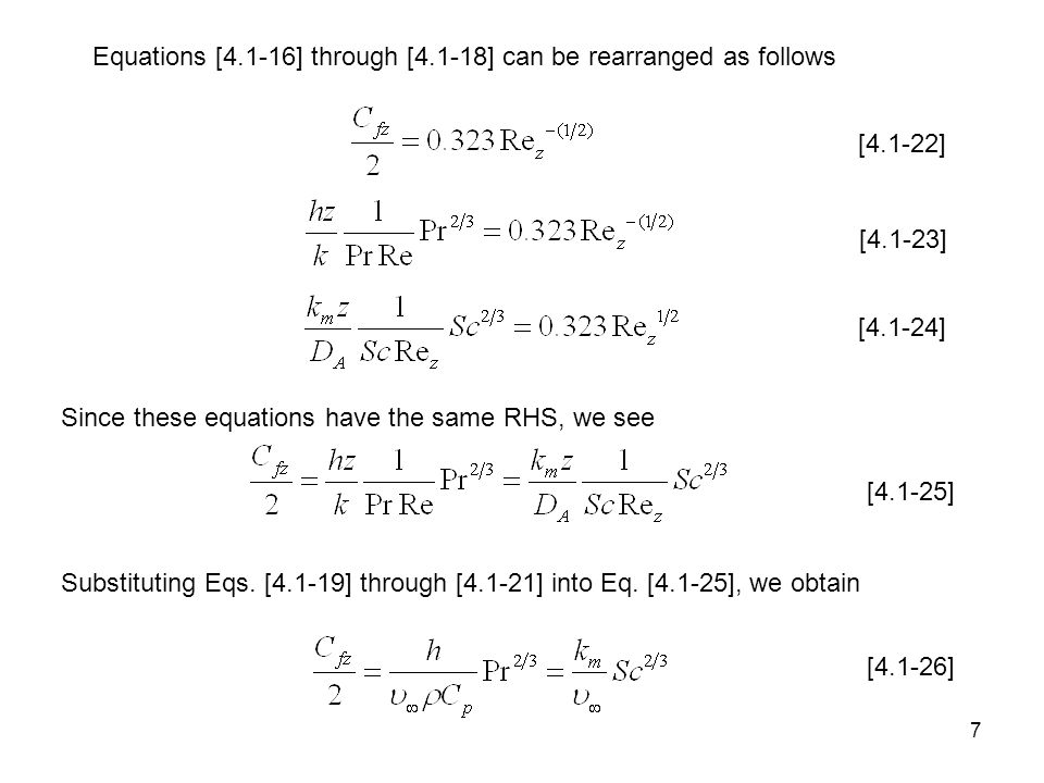 Equations [4.1-16] through [4.1-18] can be rearranged as follows