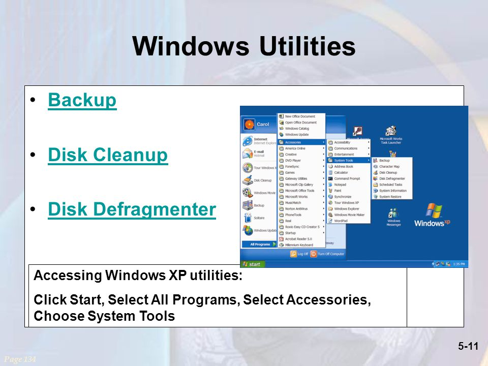 Windows Utilities Backup Disk Cleanup Disk Defragmenter