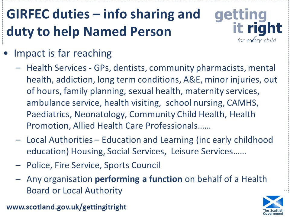 GIRFEC duties – info sharing and duty to help Named Person