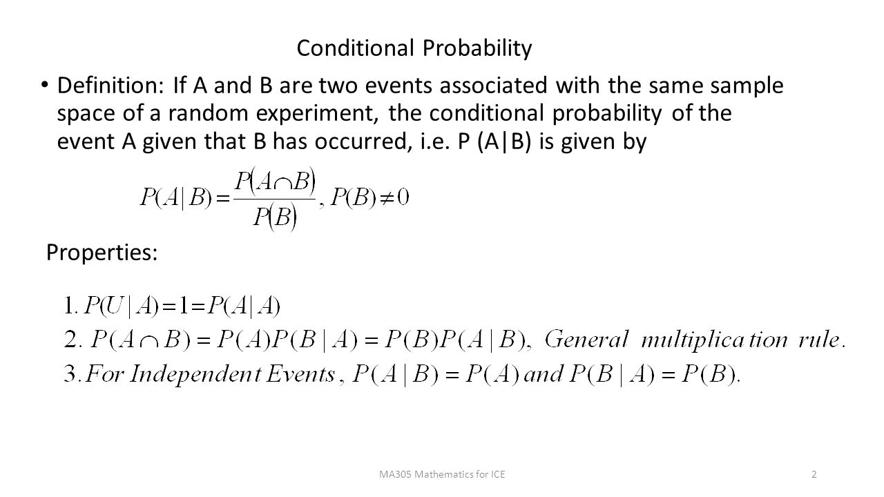 Ma305 Conditional Probability Bayes Theorem Ppt Video Online Download