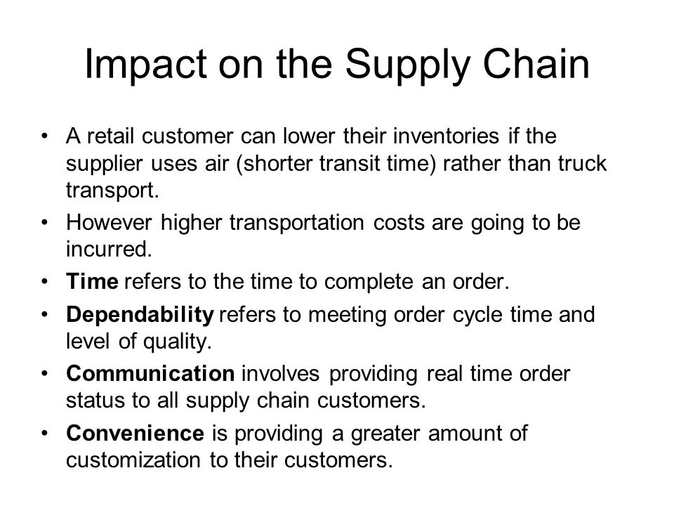 Impact on the Supply Chain