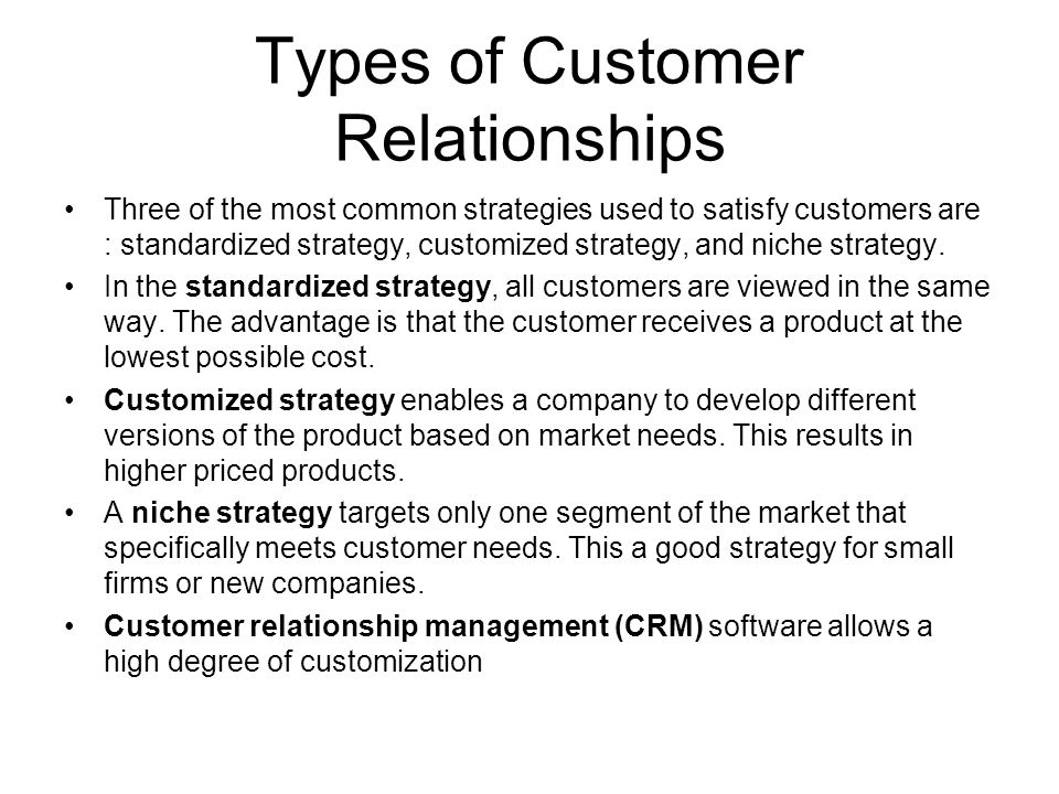 Types of Customer Relationships