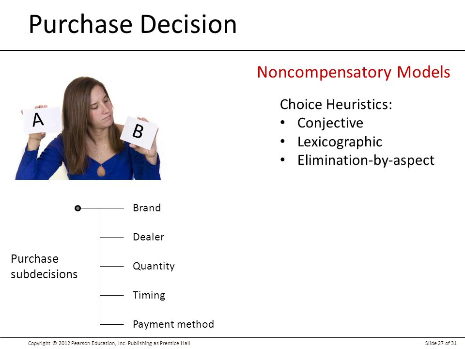 Purchase Decision A B Noncompensatory Models Choice Heuristics: