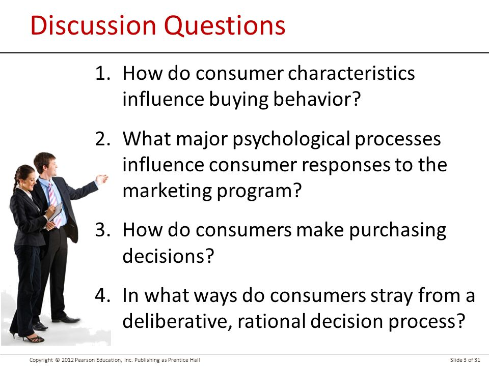 Discussion Questions How do consumer characteristics influence buying behavior