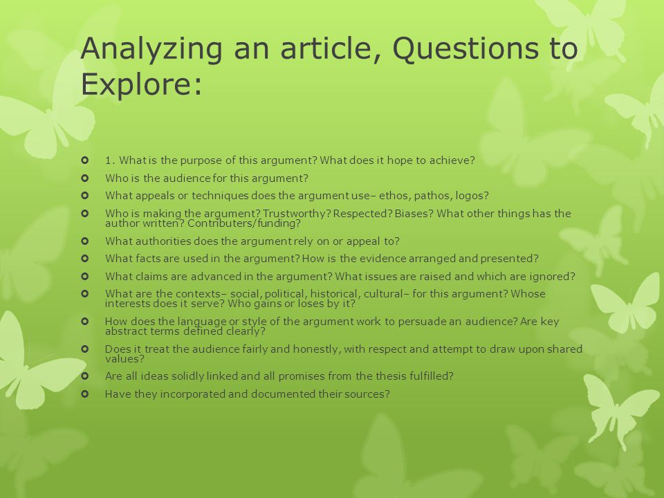 Analyzing an article, Questions to Explore: