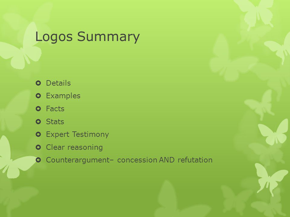 Logos Summary Details Examples Facts Stats Expert Testimony