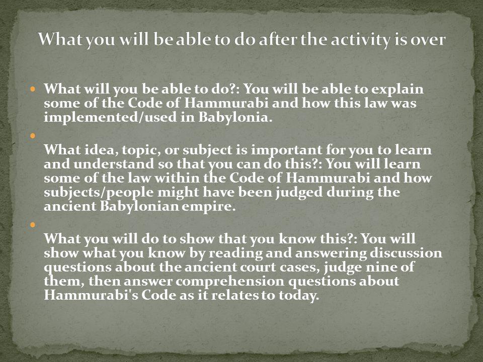 code of hammurabi importance