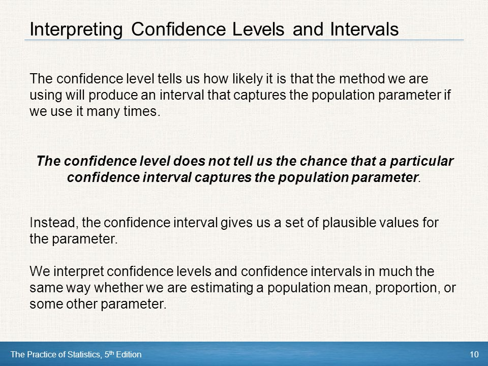 Interpreting Confidence Levels and Intervals