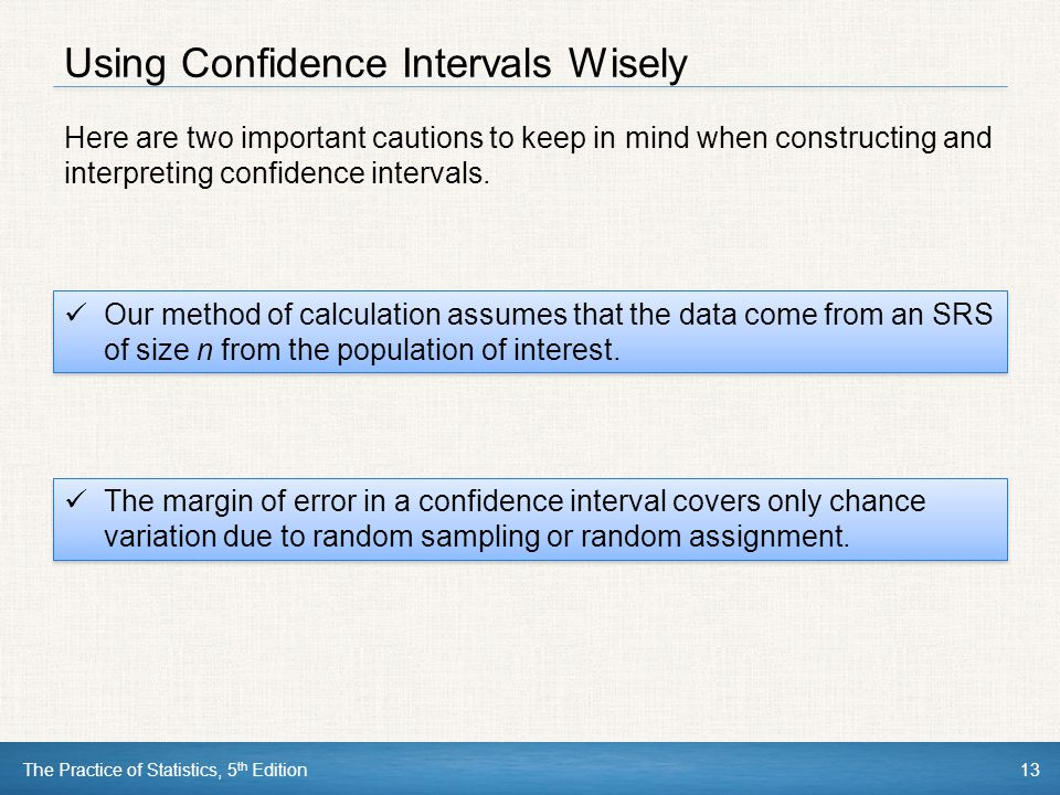 Using Confidence Intervals Wisely