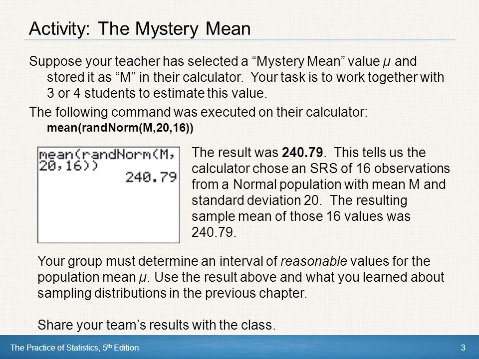 Activity: The Mystery Mean