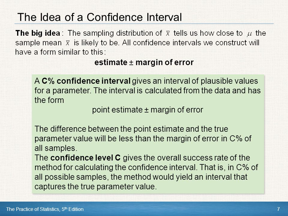 The Idea of a Confidence Interval