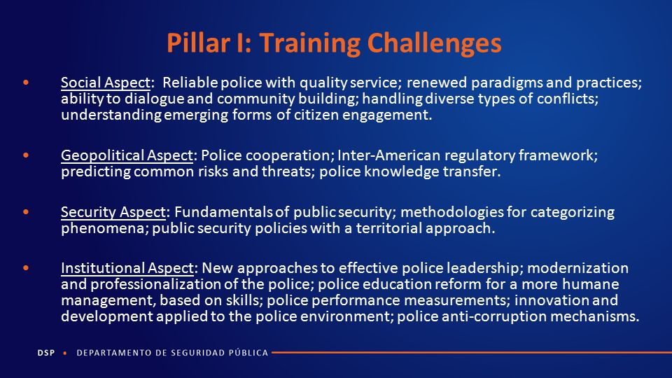 Pillar I: Training Challenges