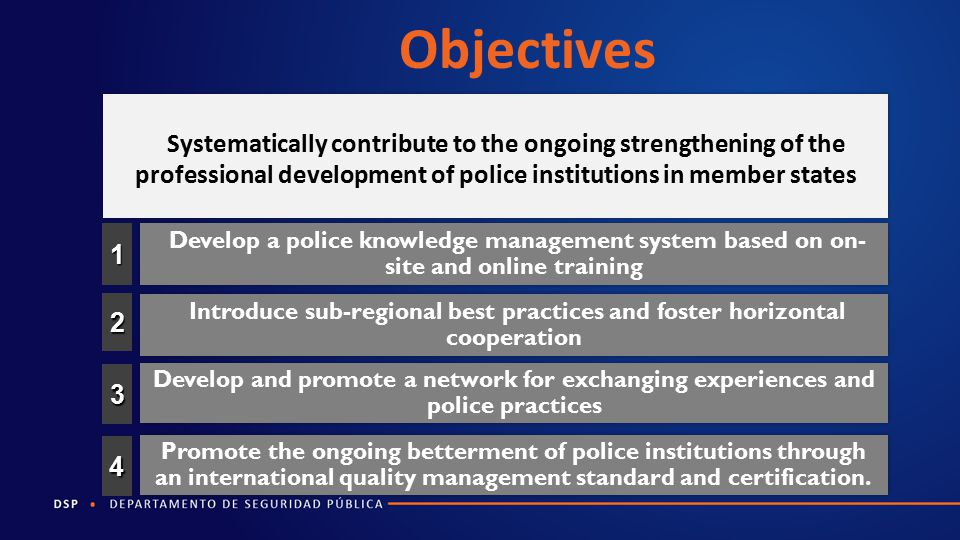 Objectives Systematically contribute to the ongoing strengthening of the professional development of police institutions in member states.