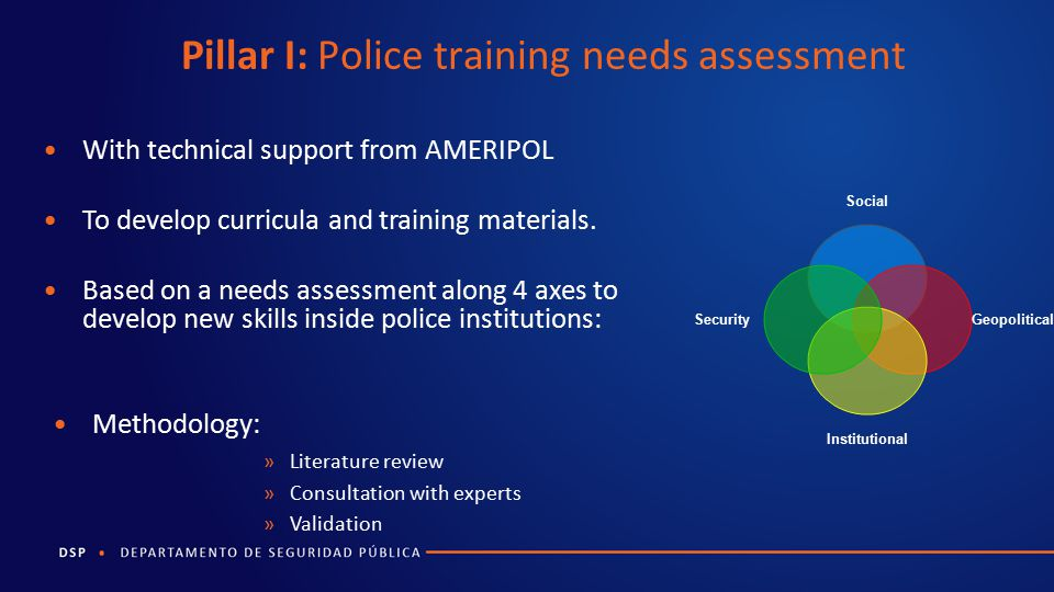 Pillar I: Police training needs assessment