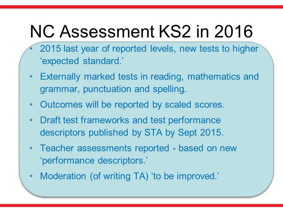 NC Assessment KS2 in last year of reported levels, new tests to higher 'expected standard.'