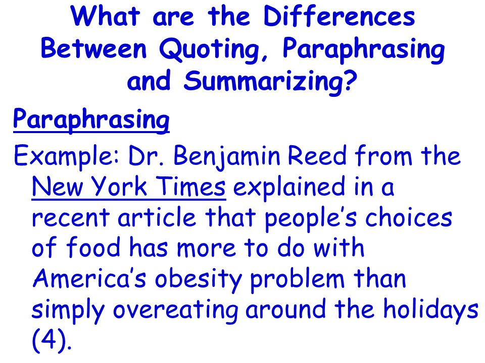 What are the Differences Between Quoting, Paraphrasing and Summarizing