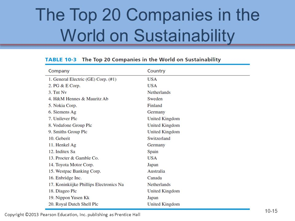 The Top 20 Companies in the World on Sustainability