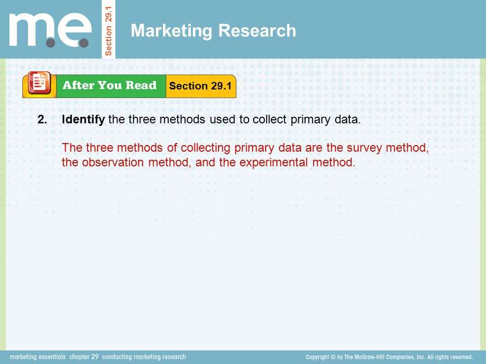 Marketing Research Section Section Identify the three methods used to collect primary data.