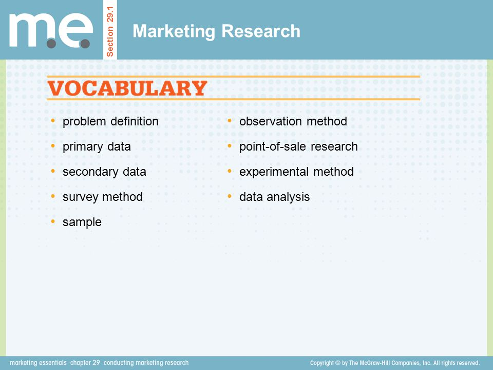 Marketing Research problem definition primary data secondary data
