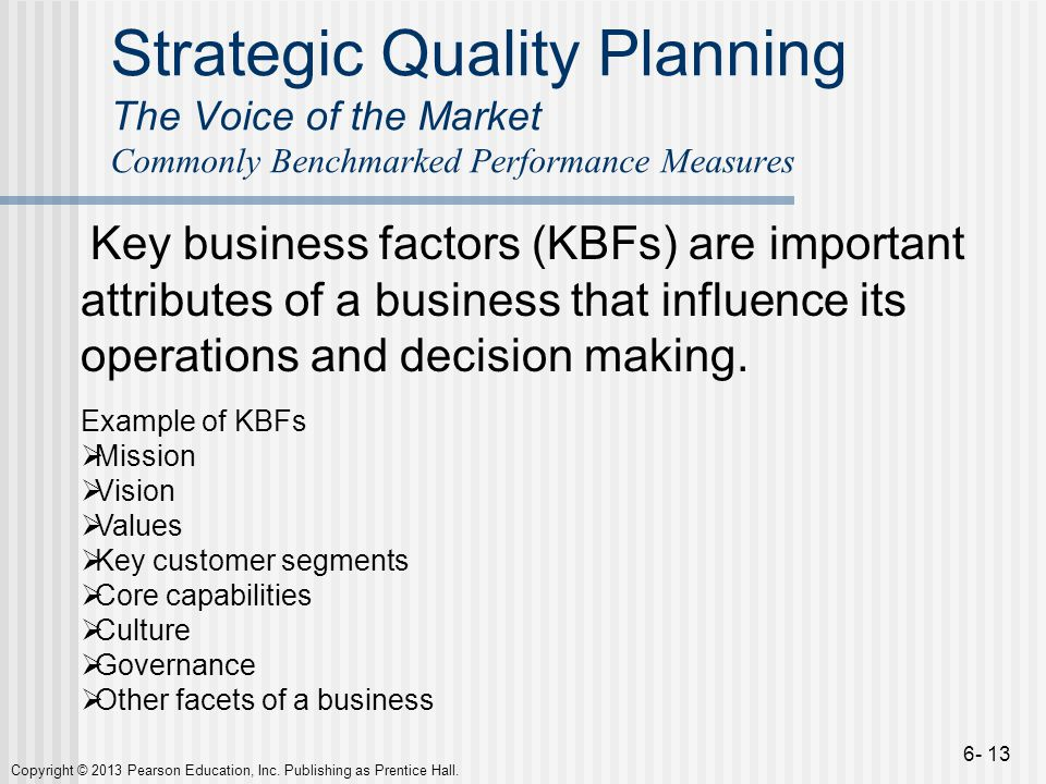 Strategic Quality Planning The Voice of the Market Commonly Benchmarked Performance Measures
