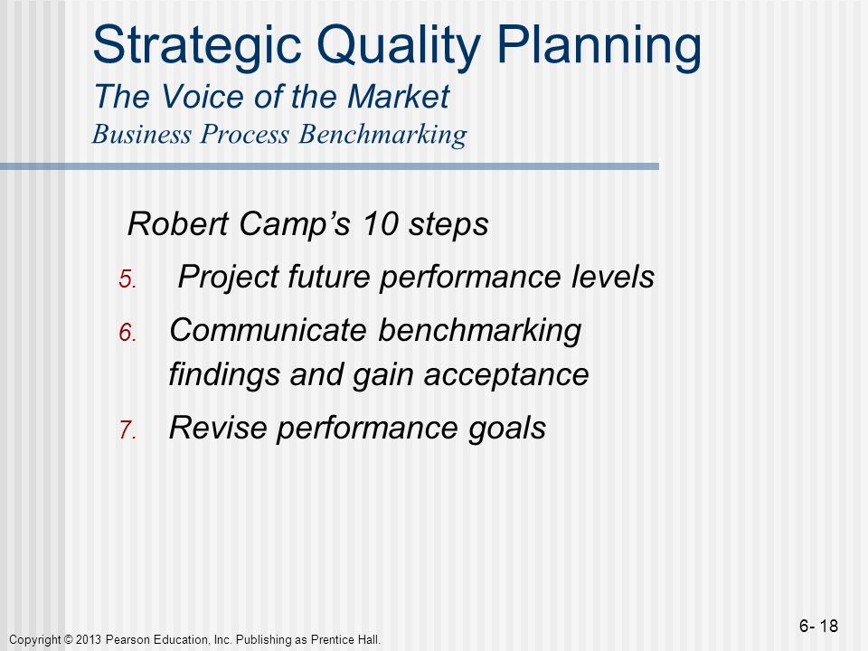 Strategic Quality Planning The Voice of the Market Business Process Benchmarking