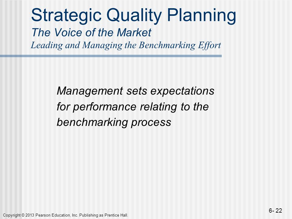 Strategic Quality Planning The Voice of the Market Leading and Managing the Benchmarking Effort